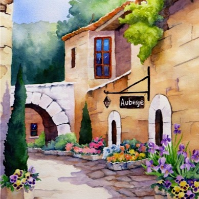 Auberge_Watercolour-18x23